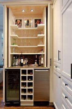"""bar Closet"" Design, Pictures, Remodel, Decor and Ideas … Home, Home Bar Designs, Bar Cart Decor, Eclectic Kitchen, Closet Bar, Bars For Home, Home Coffee Stations, Mini Bar, Closet Design"