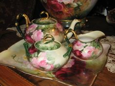 Gorgeous antique Limoges French tea set with handpainted roses.
