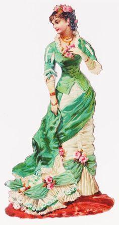 Victorian Die Cut Scrap Elegant Woman of Fashion Victorian Art, Victorian Women, Victorian Christmas, Victorian Fashion, Vintage Fashion, Parisian Fashion, Vintage Ephemera, Vintage Postcards, Clipart Vintage