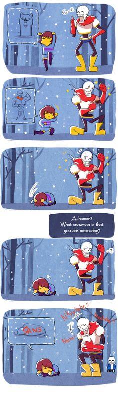 Frisk, Papyrus, and Sans #comic #snow