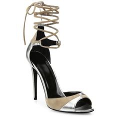 Pierre Hardy Parade Metallic Leather & Suede Ankle-Wrap Sandals (4070 MAD) ❤ liked on Polyvore featuring shoes, sandals, heels, cushioned sandals, ankle tie sandals, wrap sandals, nude heeled sandals and metallic heeled sandals