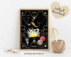 SCORPIO Astrology Wall Art,Horoscope Cards, Zodiac Print, Tarot Cards, Star Sign,Digital Download, Astrology Print,Printable,Constellation