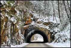 This is a tunnel on the road to Cade's Cove inside the Great Smoky Mountain National Park. It looked perfect dressed in it's winter finest. Gatlinburg Tennessee, Gatlinburg Cabins, East Tennessee, Gatlinburg Vacation, Tennessee Vacation, The Mountains Are Calling, Great Smoky Mountains, Smoky Mountains Cabins, Snowy Mountains