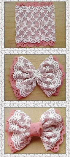 DIY Bow - might well go on a little girl's dress - jute Beutel - Baby Headbands Diy Hair Bows, Diy Bow, Diy Ribbon, Ribbon Work, Ribbon Crafts, Fabric Crafts, Sewing Crafts, Sewing Projects, Ribbon Flower