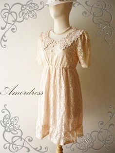 Amor Vintage Inspired- Romantic Day- Sweet Vintage Feminine Style Pale Pink Flower Filigree Lace Dress