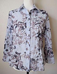COLDWATER CREEK Shaped Blouse Sky Blue & Brown Floral Cotton Sz PS #ColdwaterCreek #Blouse #CasualCareer