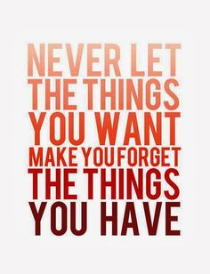 Never let the thing you want make you forget the things you have.