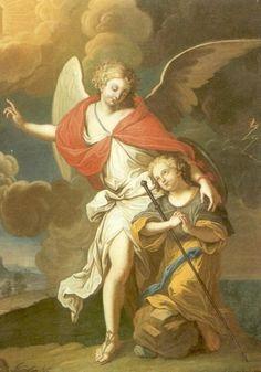 Engelbewaarders - < 1758. Schilderij door Jean-Vincent l'Hermitais Frankrijk, Bretagne, Vannes, Chapelle St-Yves Engelbewaarder.