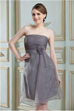 Unique Flower Pleats A-Line Strapless Short Bridesmaid Dress