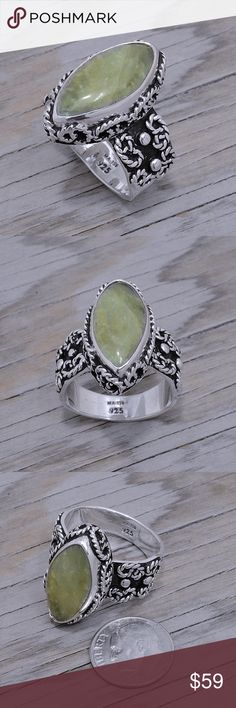 """Sterling Silver & Green Obsidian Ring Stamped """"925 MA-136"""". Manufacturers ID. Stone has natural cracks and inclusions.  This is not a stock photo. The image is of the actual article that is being sold  Sterling silver is an alloy of silver containing 92.5% by mass of silver and 7.5% by mass of other metals, usually copper. The sterling silver standard has a minimum millesimal fineness of 925.  All my jewelry is solid sterling silver. I do not plate.   Hand crafted in Taxco, Mexico.  Will…"""
