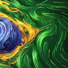 Bandeira do Brasil numa surrealista ilustração gráfica em 2D                                                                                                                                                                                 Mais