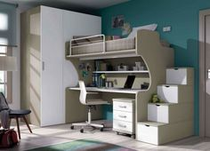 modernes zimmer jungen blau weiß wand decke deko | modisch, Wohnzimmer dekoo