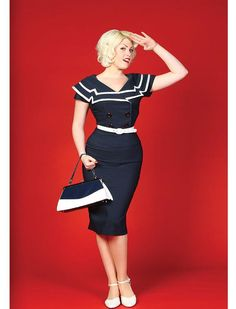 Cheap Pin Up Clothing 50S Veronica Dress In Navy With Red Heart  Pinterest  Pinup