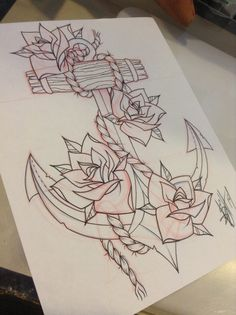 Anchor and roses with thorns