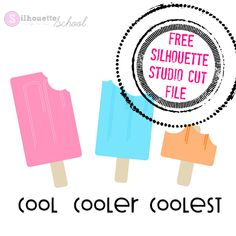 Free Silhouette Studio Designs from Silhouette School Silhouette School, Silhouette Vinyl, Silhouette Cameo Projects, Silhouette Design, Silhouette Studio, Vinyl Projects, Cutting Files, Popsicles, Free Summer