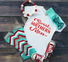 Sweet southern Mess- Cute girls shirt- Trendy girls tops- little girl shirts- hipster kid clothes- childrens shirts- sayings on tshirts by DaliceDesigns on Etsy