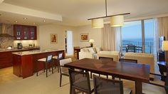 Trump Waikiki Premium Two Bedroom Plus Den Ocean View Suite Living Room and Kitchen