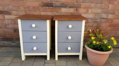 Bedside cabinets painted in Adam Cream eggshell, grey drawers and Jacobean Oak stained tops