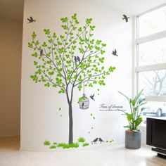 Birdcage Birds Wall Decals Tree Wall Decals create sweet home easily. - Description : Birdcage Birds Wall Decals Tree Wall Decals - Sheet Size : x ( x - Color : Brown+Light Olive Bird Wall Decals, Tree Decals, Removable Wall Decals, Wall Vinyl, Bedroom Door Decorations, Tree Wall Decor, Tree On Wall, Kitchen Wall Stickers, Wall Decor Stickers
