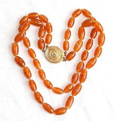 CASTLECLIFF NECKLACE Amber Glass Vintage by CamanoIslandVintage, $42.50