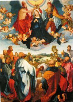 Maria, dood en hemelopneming.De apostelen staan beneden geschaard rond het lege graf van Maria. Vol verwondering kijken ze omhoog naar haar opname en kroning in de hemel. 1509, Albrecht Dürer, schilderij. Duitsland, Frankfurt/Main, Historisches Museum. .