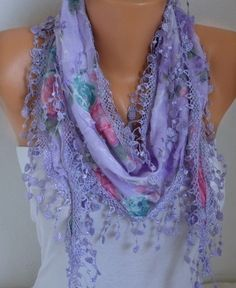 ON SALE - Spring Scarf  Lilac Floral Scarf Heart Scarf Multicolor Scarf - Cotton Scarf - Cowl Scarf - For Her best selling item scarf
