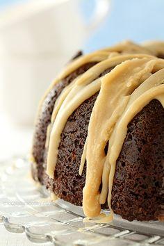 Double Chocolate Espresso Bundt Cake with Caramel Glaze | www.chocolatemoosey.com