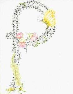 Personalized Kids Wall Art Monogram Personalized Letter Custom Monogram Childrens Art Original Pencil Drawing  Home Decor Yellow Green on Etsy, $100.69 CAD