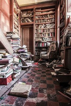 Library in the abandoned Château de la Forêt, Belgium.