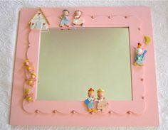 Sweet Vintage Irmi Pink Nursery Rhyme Deluxe Mirror. $125.00, via Etsy.