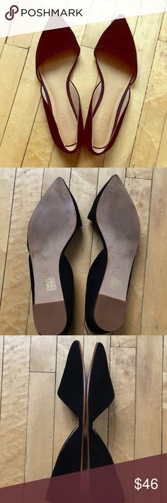Black suede JCrew flats Pointed J Crew factory flats. Size 8.5. Great condition. Worn once. Box included J. Crew Shoes Flats & Loafers