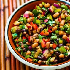 Kalyn's Kitchen®: Recipe for Southwestern Bean Salad with Black Beans, Black-Eyed Peas, Peppers, and Cilantro