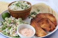 Baja Fish Tacos & Cabbage Salad with Cilantro-Lime Rice with FAGE Total Greek Yogurt