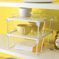 Shelves for desk corner, extra shelf in cupboard.