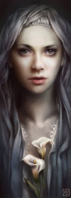 """Lily"" - Anna Dittmann {contemporary artist figurative beautiful female woman flower digital painting} Enchanting !!"