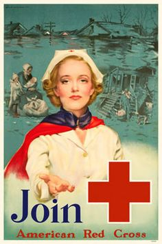 "World War II poster - ""Join American Red Cross"" (Photo Credit: Corbis) Vintage Advertisements, Vintage Ads, Vintage Posters, Vintage Images, Ww1 Posters, Poster Ads, Propaganda Art, Vintage Nurse, Rick Y"