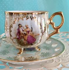 Reticulated Tea Cup and Saucer Japanese by VintageTeacupShop