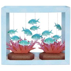 Paper Aquarium: Blue-Green Puller,Animals,Paper Craft,Waterweed,seagrass,coral,fish,sea,Moving,Aquarium