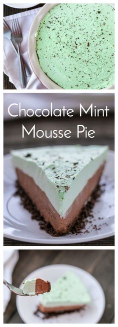 Chocolate crust, creamy chocolate mousse and mint cream topping all come together to make this beautiful Chocolate Mint Mousse Pie! #EasyRecipe #Chocolate #Pie #ChocolateMint #Dessert