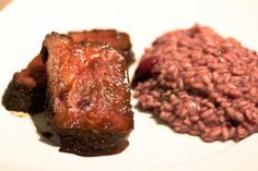 Roast Beef in Whiskey Marinade with Red Wine Risotto