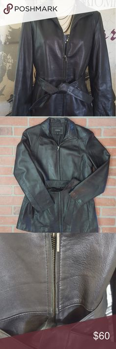 Genuine leather jacket Soft and buttery leather jacket with belt.  Gorgeous and in good used condition!  There is some wear on the collar as pictured. Colebrook Jackets & Coats Utility Jackets