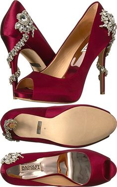 Badgley Mischka Women's Royal Burgundy Satin Sandal