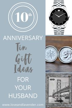 Need some help picking out a 10th anniversary tin gift for your husband? Weve got a load  of unique ideas to get you started! #anniversarygift #10thanniversarygiftforhusband #10thanniversarygiftforhim