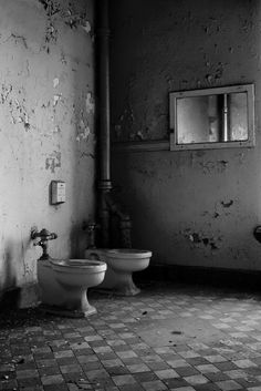 Why are there no stalls in these bathrooms? Mentha State Hospital