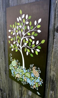 whimsical paisley tree painting