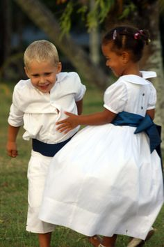 Gallia white flower girl dress with peter pan collar and puff sleeves with navy blue sash and white page boy outfit with navy blue cummerbund for traditional weddings- elegant flower girl dresses and page boy outfits by French designer Little Eglantine Designer Flower Girl Dresses, White Flower Girl Dresses, Girls Dresses, Flower Girls, Flower Girl Pictures, Première Communion, White And Blue Flowers, Page Boy, Modern Kids
