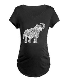 Loving this Black & White Elephant Ruched Maternity V-Neck Tee - Women & Plus on #zulily! #zulilyfinds