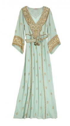 Kenna's Calpyso St. Barth green and gold caftan dress from Reign 2x06