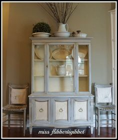 Chalk Paint French China Hutch An inspired refurbishing of an old hutch with paint and technique to recreate a beautiful piece of furniture!  This would be perfect in a Cottage, Shabby Chic or in my case, Barn living!