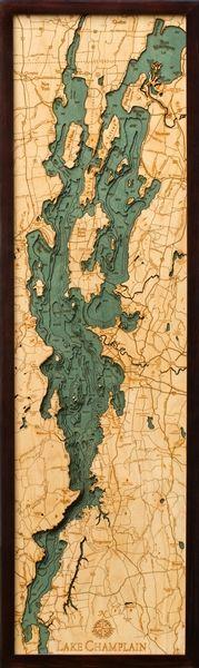 Lake Champlain 3-D Nautical Wood Chart 13.5 x 43
